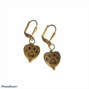 Fur Baby love earrings, goldtone, NWT